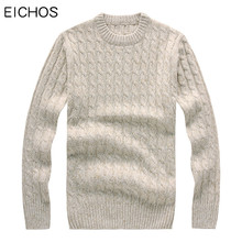 EICHOS Winter Knitted Wool Sweater Men Long Sleeves Thick Pullover Mens Round Collar Solid Warm Woolen Male Sweater Coat 7710MY