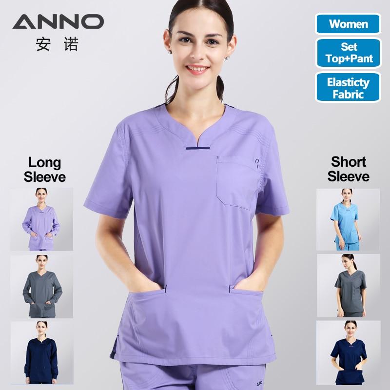 ANNO Summer Women Medical Clothing Hospital Scrubs Nurse Uniform Dental Clinic and Beauty Salon Fashion Design Slim Fit