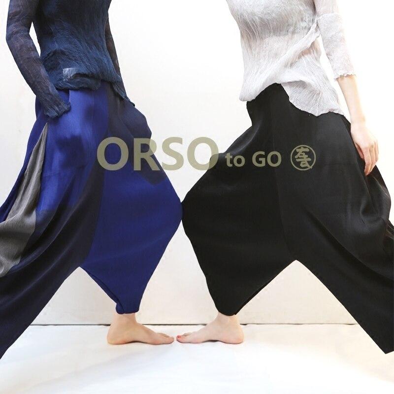 Azterumi specjalne plisy letnia nowy 2019 kobiety na co dzień luźne spodnie Harem spodnie wysokiej talii kostki długość plisowane spodnie czarny niebieski szary w Spodnie i spodnie capri od Odzież damska na  Grupa 2