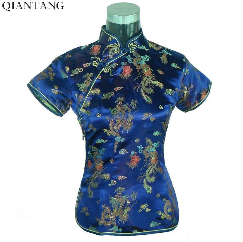 Специальное предложение Темно-синие Летняя женская блузка атласная рубашка Топ Mujeres Camisa Китайская традиционная Костюмы Размеры размеры S M L...