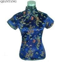 Oferta especial Azul Marino de Verano Para Mujer Mujeres Blusa Camisa de Satén Superior Camisa de la Ropa Tradicional China Tamaño S M L XL XXL A0018