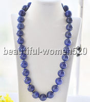Z8557 Big Natural 18mm Blue lapis lazuli Bead Necklace Cougar CZ 24inch