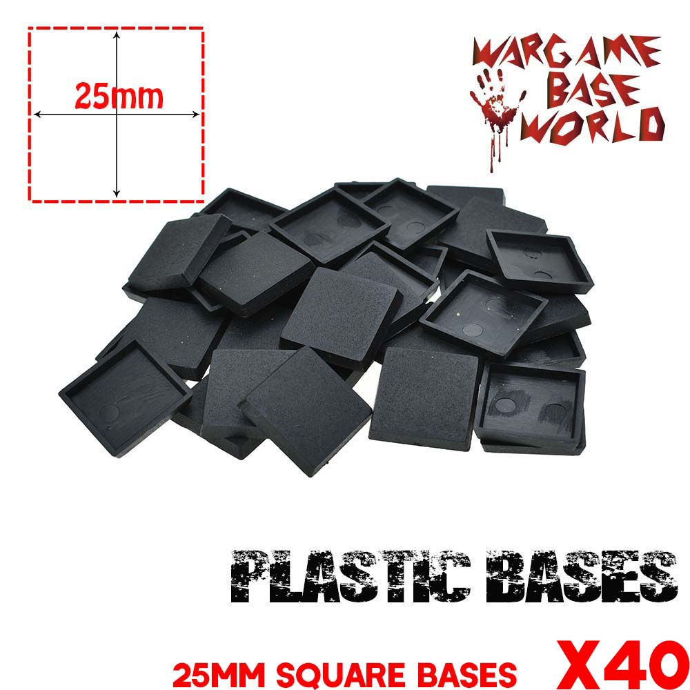40 X 25mm Bases For Wargames Plastic Square Bases