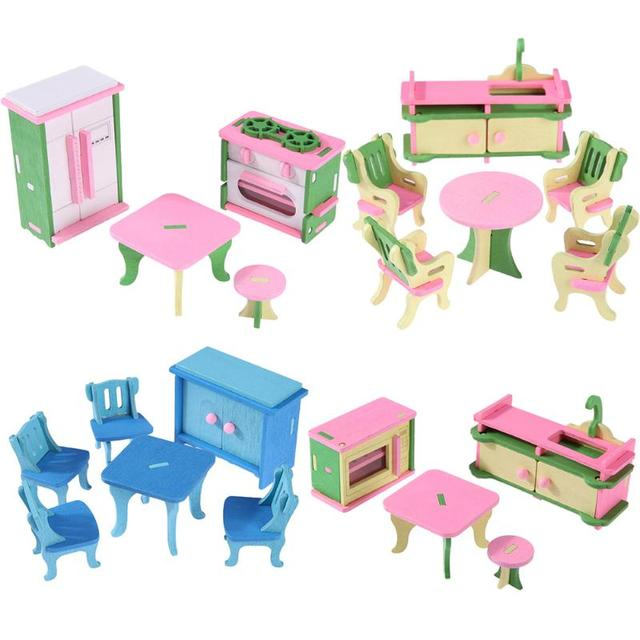 dolls furniture set. Mini Wooden Simulation Dollhouse Furniture Set Kids Children Educational Toy Room Bedroom Pretend Play Dolls