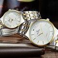 2016 Mulheres Dos Homens Quentes de Luxo QIANBA Marca Aço Inoxidável relógios de Pulso de Quartzo Relógios À Prova D' Água de Negócios de Moda Casual