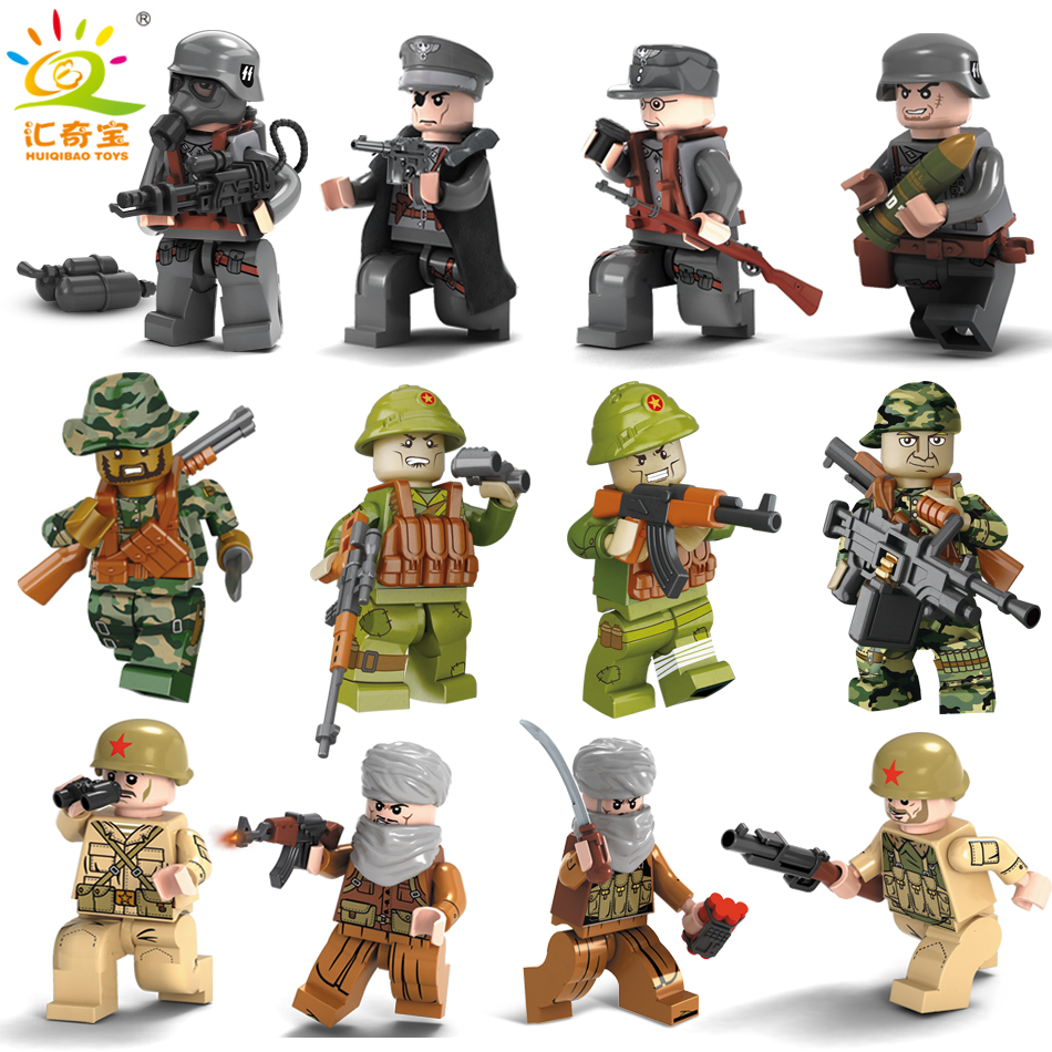 Military Swat Team City Police Armed Assault Army soldiers With Weapons Guns Compatible Legoed Figures WW2 Building Blocks Toys military city police swat team army soldiers with weapons ww2 building blocks toys for children gift