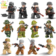 Military Swat Team City Police Armed Assault Army soldiers With Weapons Guns Compatible Legoed Figures WW2