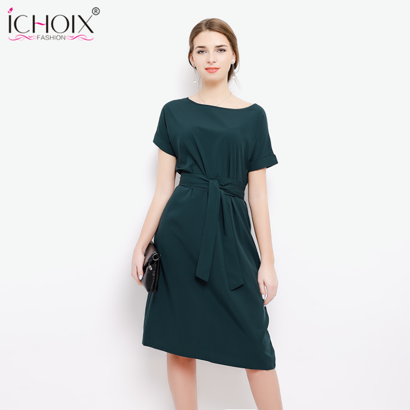 Women Summer Chiffon Plus Size A-line Dress 2018 Loose Big Size Elegant Office Lady Dresses Casual Party Vestido With Belt M-3XL