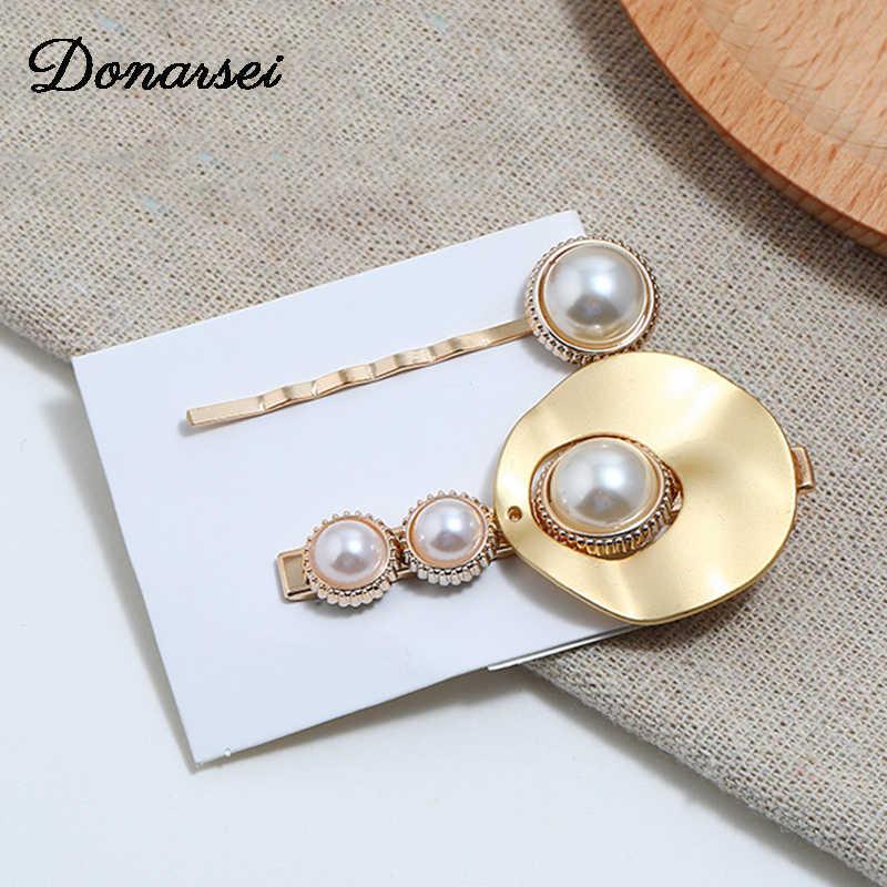 Donarsei 2 шт./компл. модные заколки с искусственным жемчугом для женщин золотые