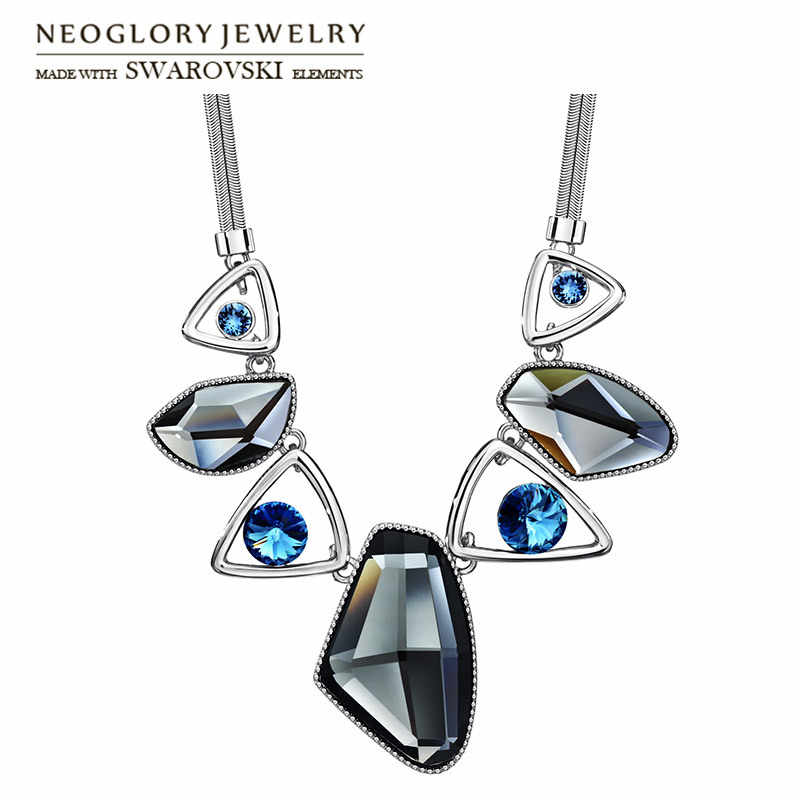 Neoglory Austria Crystal & Auden Rhinestone Pendant Long Necklace Anomalistic Elegant Geomeric Design For Trendy Lady Party Sale