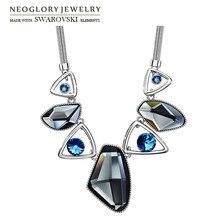 Neoglory Austria Crystal & Auden Rhinestone Pendant Long Necklace Anomalistic Elegant Geomeric Design For Trendy Lady Party Sale