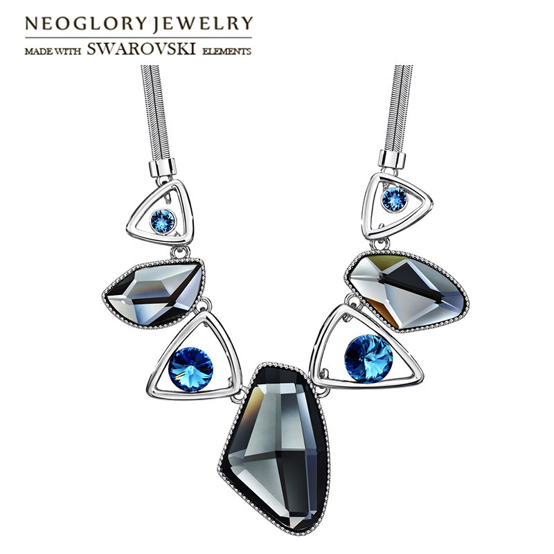 Neoglory Austria Crystal & Auden Rhinestone Pendant Long Necklace Anomalistic Elegant Geomeric Design For Trendy Lady Party Sale neoglory austria crystal