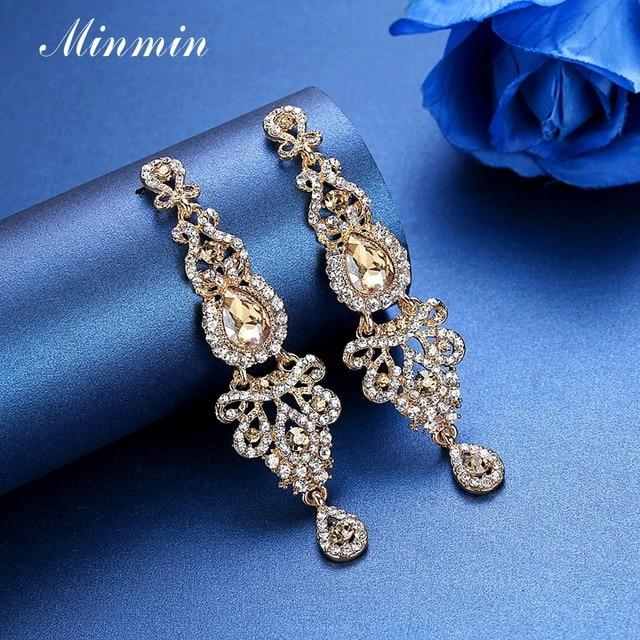 Online Shop Minmin Champagne Crystal Wedding Long Earrings Luxury ...