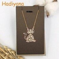 HADIYANA Cat Shape Colorful Cute Pendant Necklace Custume Jewelry CZ Stones Brand Designer White Gold Lady