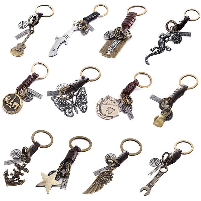 Multiple Guitar Butterfly Pendant Suspension Leather Keychain Key Chain Charms for Keys Car Keys Accessories Keychain on a Bag