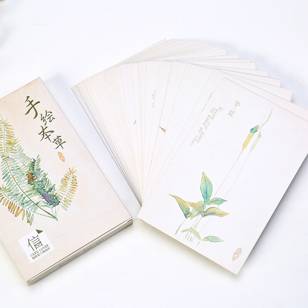 30 sheets/SET Botany Postcard /Hand-painted materia Postcard/Greeting Card/Wish Card/Christmas and New Year gifts Postcards