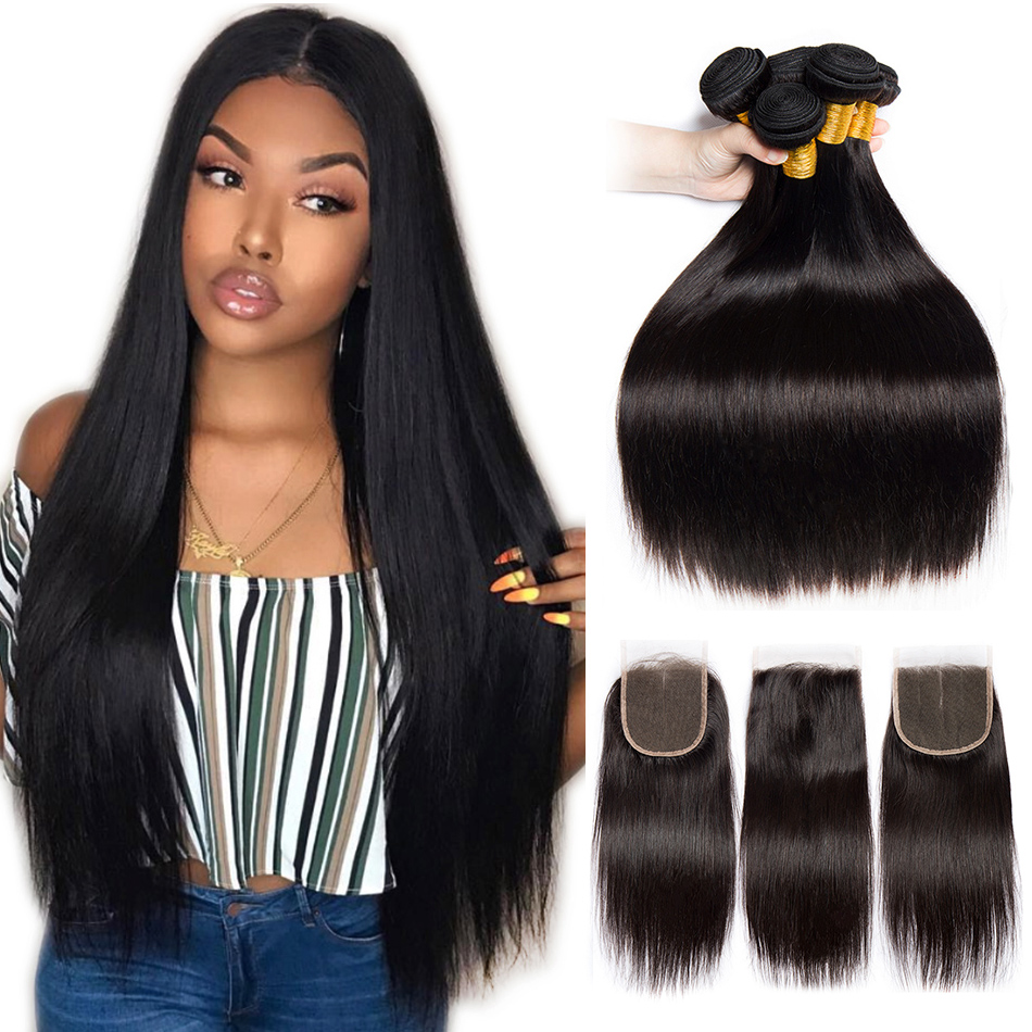 Alibele Brazilian Straight Hair Bundles With Closure Brazilian Hair Weave Bundles Remy Human Hair 3 Bundles