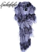 Winter Women Long Genuine Knitted Fox Fur Scarf Real Rex Rabbit Fur Collar Warm Neck Stole Tassel Natural Silver Fox Fur Scarves