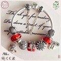 Nova Chegada Famosa Marca de Jóias de Prata Encantos Série Vermelha 925 Reais de Prata Charme Pulseira Para Presentes de Natal