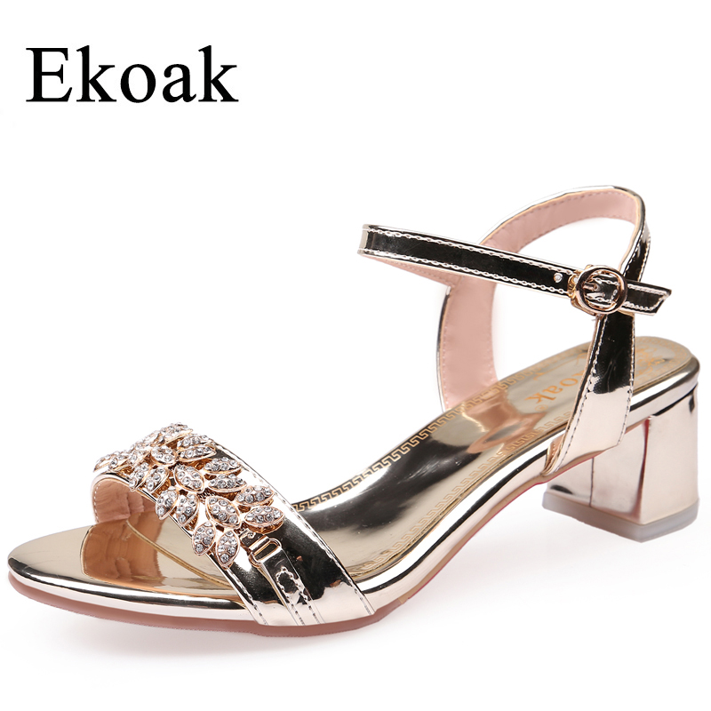 Ekoak Summer Women Shoes Fashion Rhinestone Women Sandals Ladies Ankle Strap Patent Leather High Heels Shoes Woman Party Shoes цены онлайн