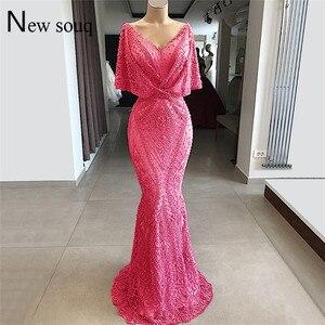 Image 4 - Tiếng Ả Rập Dubai Couture Hồi Giáo Váy Đầm Dạ Phối Ren Đính Hạt Nàng Tiên Cá Đảng Đồ Bầu Bán 2019 Đầm Vestido De Festa Hồi Giáo Chính Thức Đầm