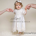 New white/ivory heirloom christening gowns beautiful lace satin ankle-length baptism dresses for infant baby boy girls customed