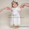 Nueva blanco / de marfil de la herencia bautizo vestidos hermosos del cordón del satén del tobillo de longitud bautismo vestidos para infantiles muchachas del bebé customed