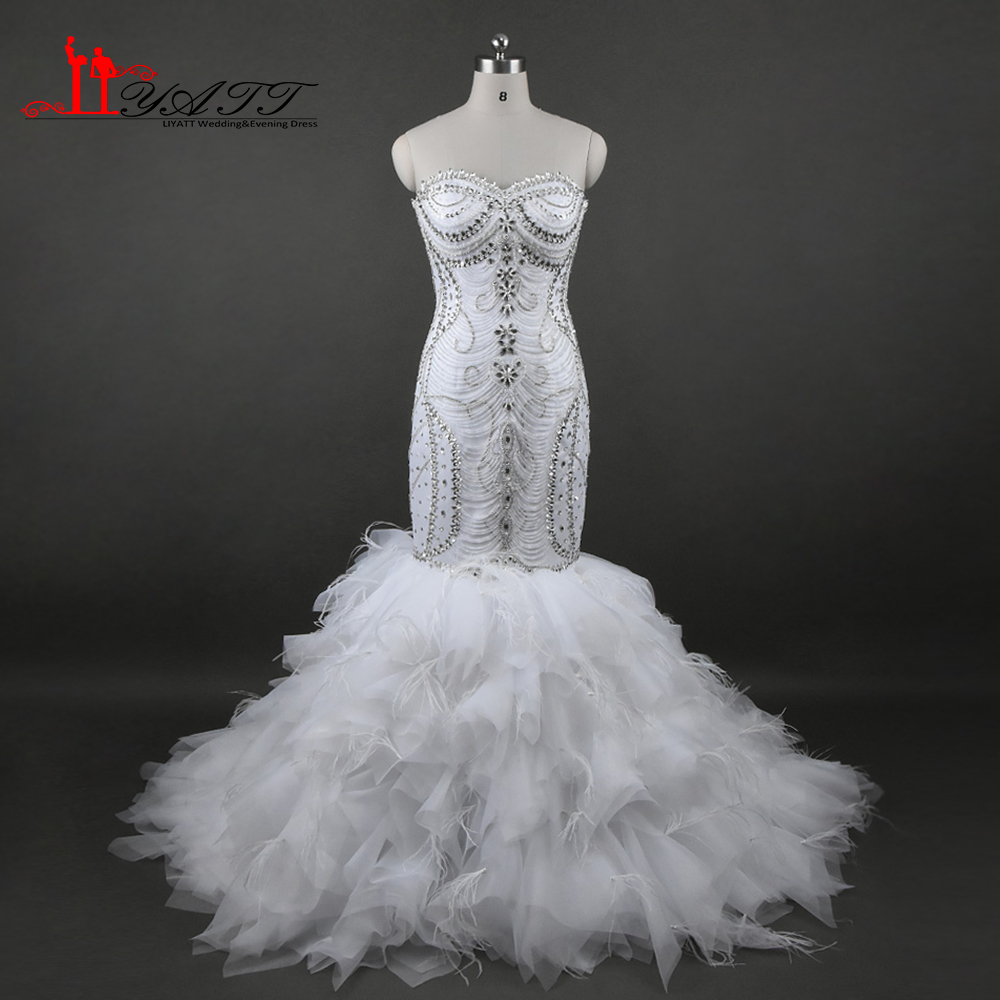 2017 New Arrival Wedding Bridal Dresses Sexy Mermaid Crystal Beads Sweetheart Real Photo Lace Up Bridal Gown Liyatt
