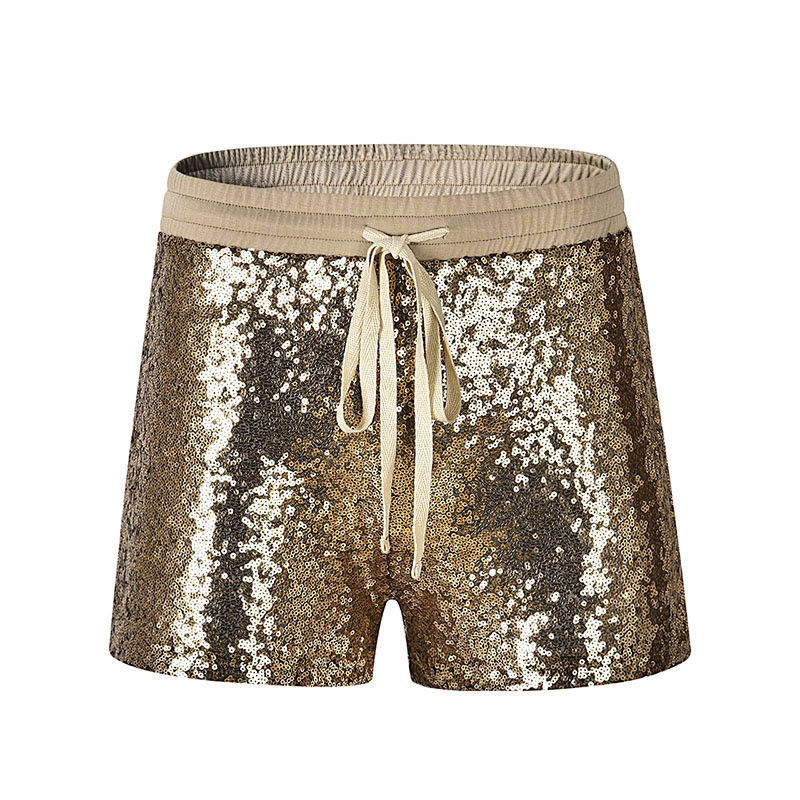 2018 New Fashion Women Hot Shorts Summer Casual Loose Golden Sequins Shorts Stylish Female High Waist Short Trousers