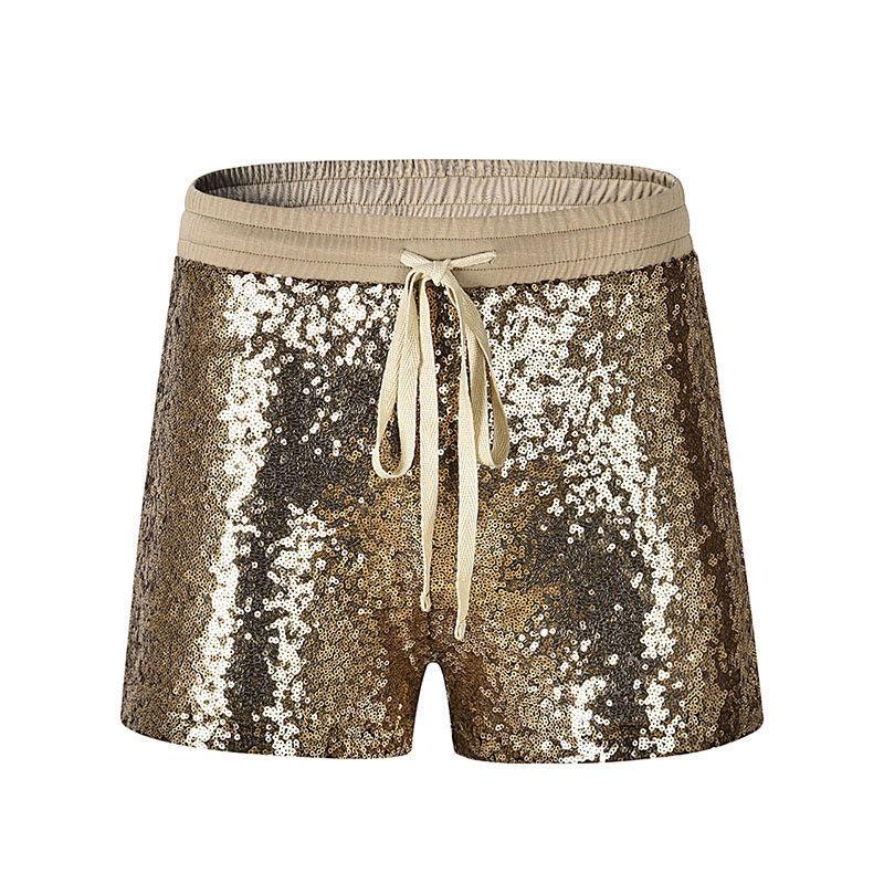 2018 New Fashion Women Hot Shorts Summer Casual Loose Golden Sequins Shorts Stylish Female High Waist Short Trousers