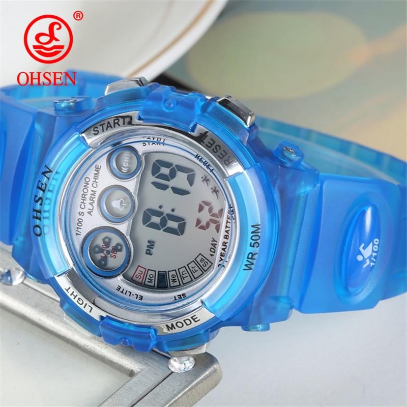 OHSEN Outdoor Sports Watch Children Alarm Clock Waterproof Multifunctional Watches LED Display Shock Digital Watch reloj hombre