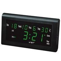 12 24 Hours Wall Clock Big Number Lcd Display Temperature Date Week Month Table Clock EU