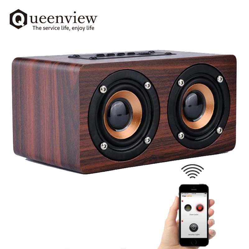 Retro Wood Bluetooth Speaker HIFI Dual Loudspeakers Hand-free Portable Wireless Speakers enceinte With TF Card AUX IN MP3 Player wood