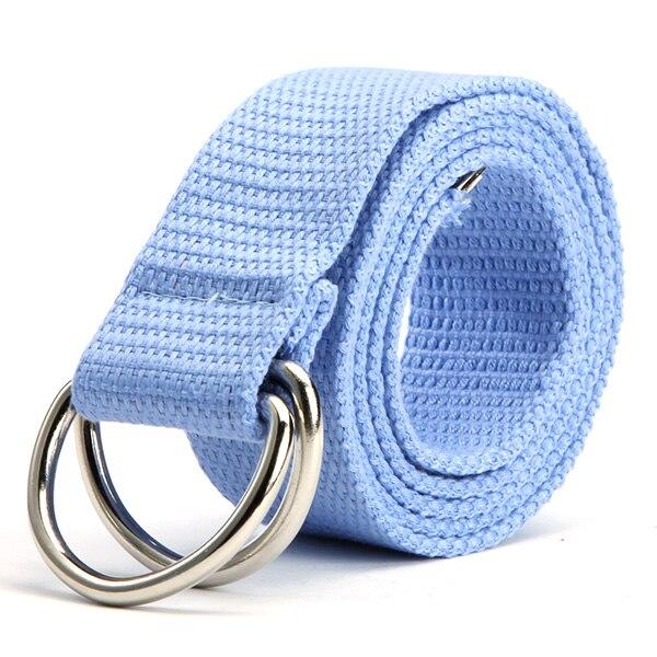Трендовый модный ремень 10 цветов женский мужской холст двойное кольцо Пряжка повседневный Дикий тканый ремень - Цвет: Небесно-голубой