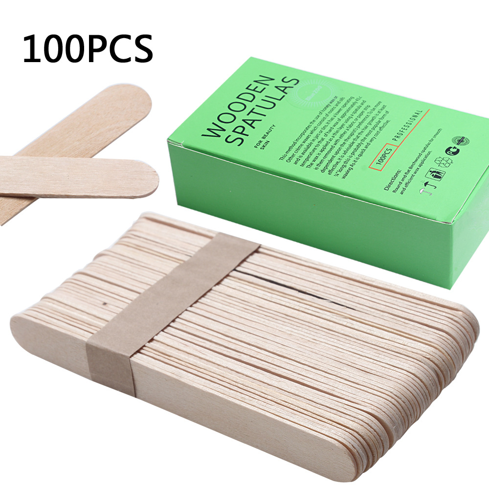 100Pcs BigSize Wooden Waxing Wax Spatula Tongue Mask Sticks Disposable Bamboo Sticks Tattoo Wax Medical Stick Beauty Health Tool