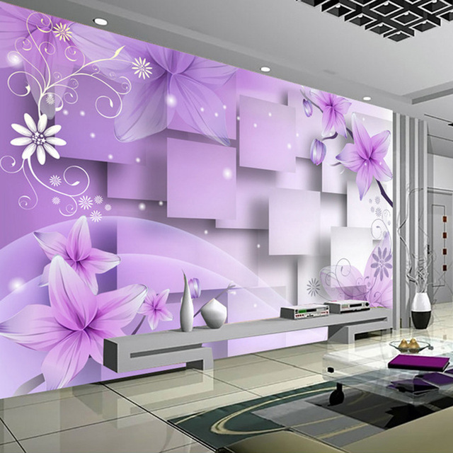 Modern Minimalist Purple Flowers 3D Stereoscopic Abstract TV Background  Wallpaper Living Room Wall Decoration Painting Mural