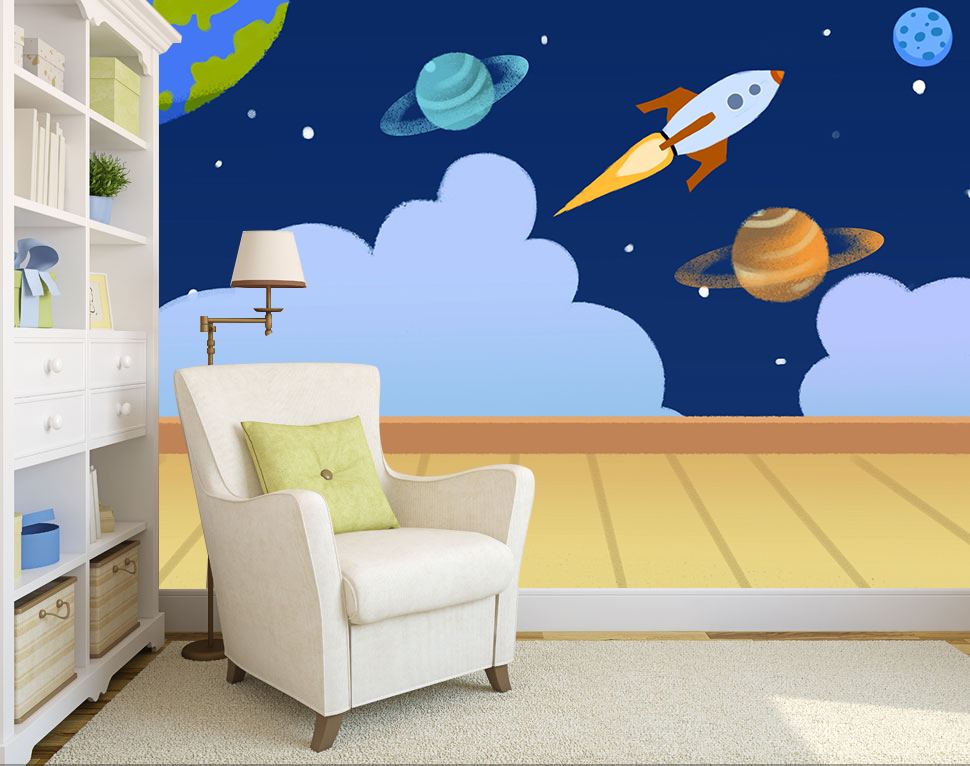 [Self-Adhesive] 3D Rocket Planet Universe Child 3 Wall Paper Mural Wall Print Decal Wall Murals