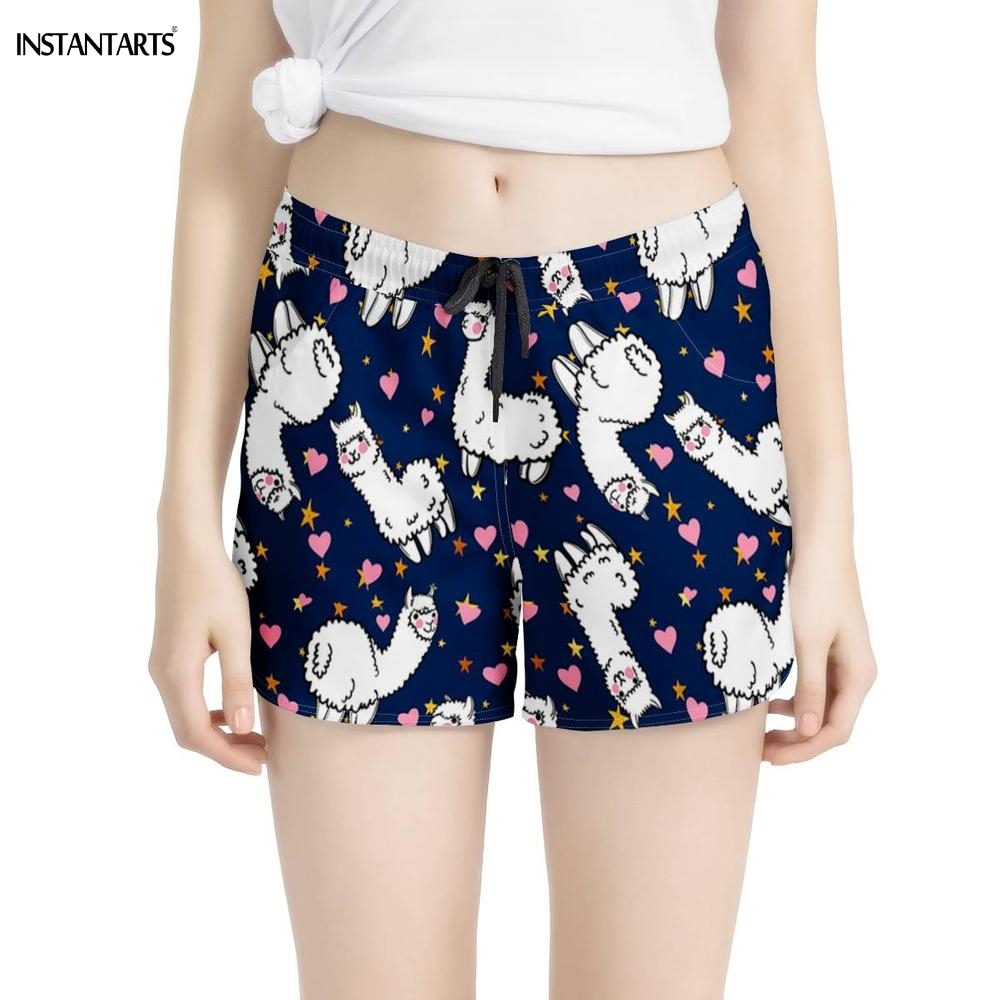 INSTANTARTS Cute Animal Llama Printed Lady Yoga Shorts Workout Summer Athletic Gym Shorts Breathable Quick Dry Fitness Clothes