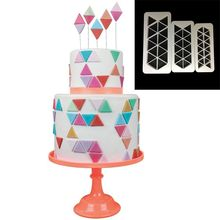 TTLIFE  3pcs Geometry Banner Cookie Cuttter Fondant Cake Biscuit Mold Pastry Cupcake Decorating Tools Dessert Cake Baking Moulds ttlife twist texture rope cake border silicone mold fondant cake pastry decorating tools dessert biscuit chocolate baking moulds