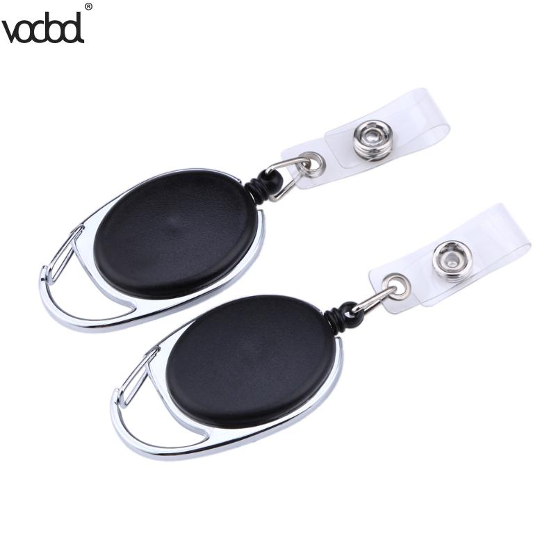 2pcs Black Retractable Pull Key Ring Chain Reel ID Lanyard Name Tag Card Holder Badge Reel Carabiner Style Retractable Holder