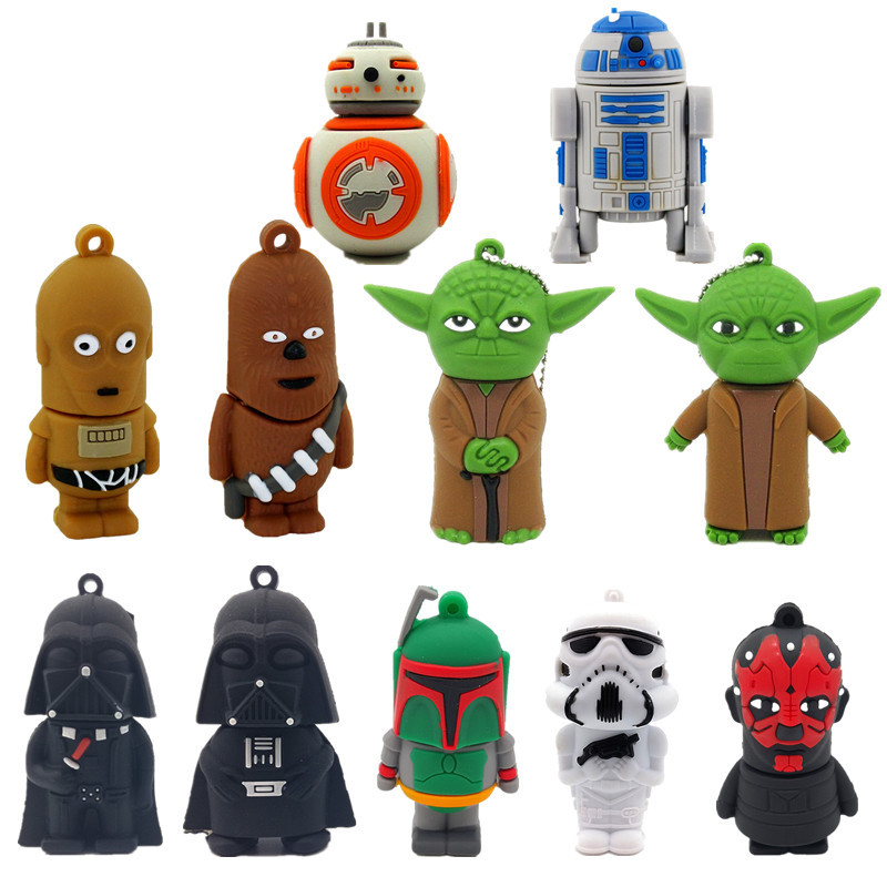 Cartoon usb stick 2.0 flash memory Stick 128GB Star Wars Pen drive 4GB 8GB 16GB 32GB 64GB Pendrive USB Flash Drive free shipping-in USB Flash Drives from Computer & Office
