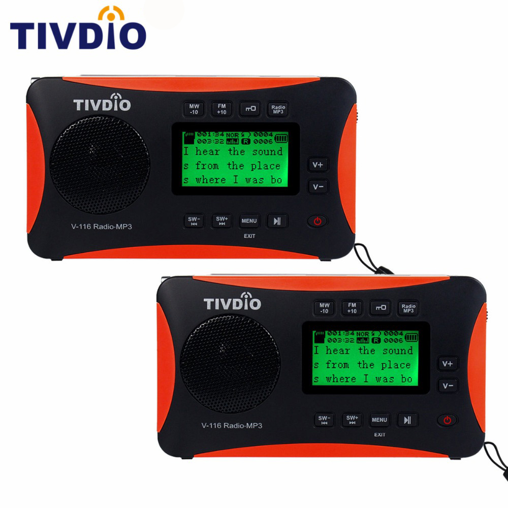 2pcs TIVDIO V-116 Portable Radio FM MW SW World Receiver USB/SD Card MP3 Player/Sleep Timer Alarm Clock Recorder/E-book/Calendar portable fm am sw radio multiband radio receiver bass sound mp3 player rec recorder portatil radio with sleep timer f9205a