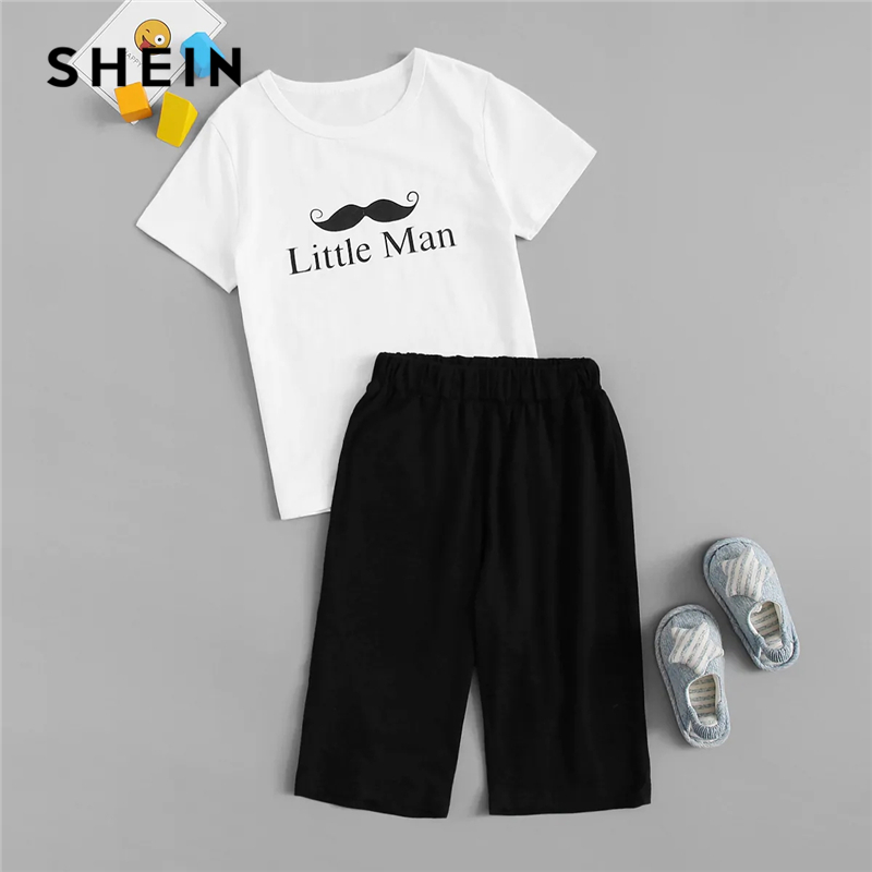 SHEIN Kiddie White Letter Print T-Shirt With Black Solid Pants Boys Pajama Sets 2019 Summer Short Sleeve Casual Lounge Sleepwear plus size letter graphic smock t shirt dress