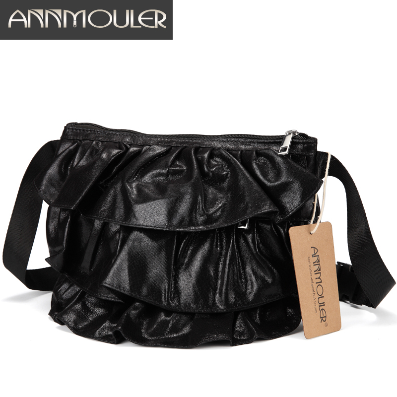 Annmouler Fashion Waist Bag Pu Leather Fanny Pack Ruffle Waist Packs 4 Colors Adjustable Hip Bag Phone Belt Bag For Girls