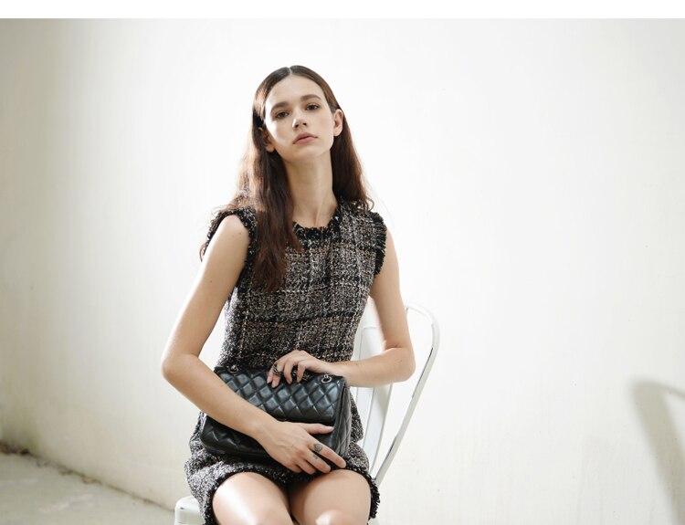HTB1lPLOQpXXXXc8XpXXq6xXFXXXn - Luxury Brand Women's Tweed Sleeveless Plaid Dress 2018 Winter or Spring Elegant Round Neck Slim A-Line Based Dress