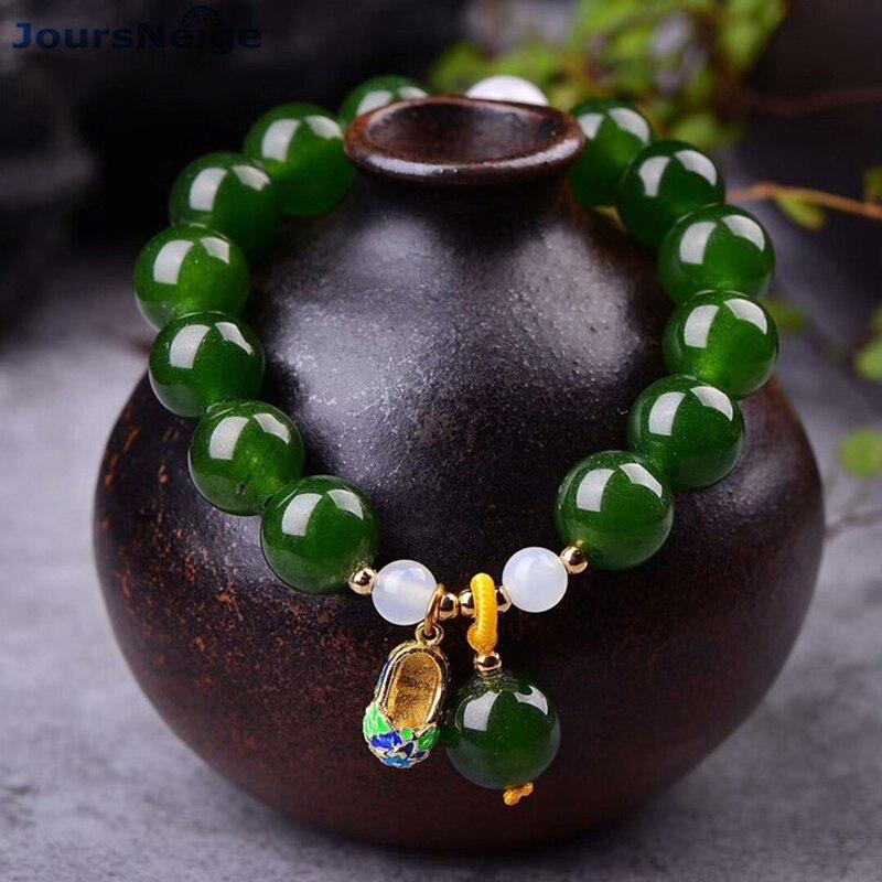 Großhandel JoursNeige Grün Chalcedon Kristall Armbänder 12mm perlen Mit Cloisonné Schuhe Anhänger Armband Glück für Frauen Schmuck