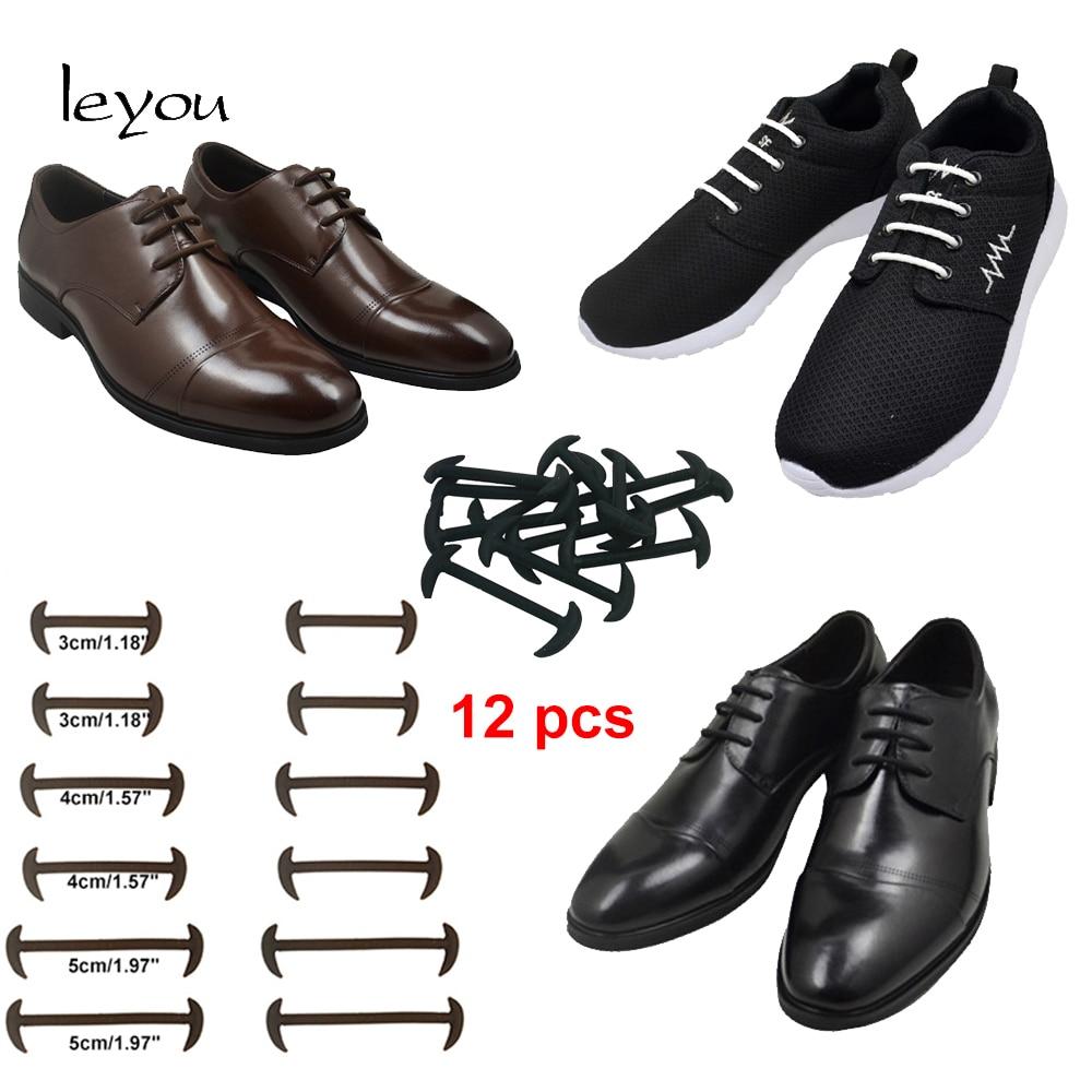 12pcs New No Tie Shoelaces Elastic Silicone Leather Shoe Laces For Men Women Lot