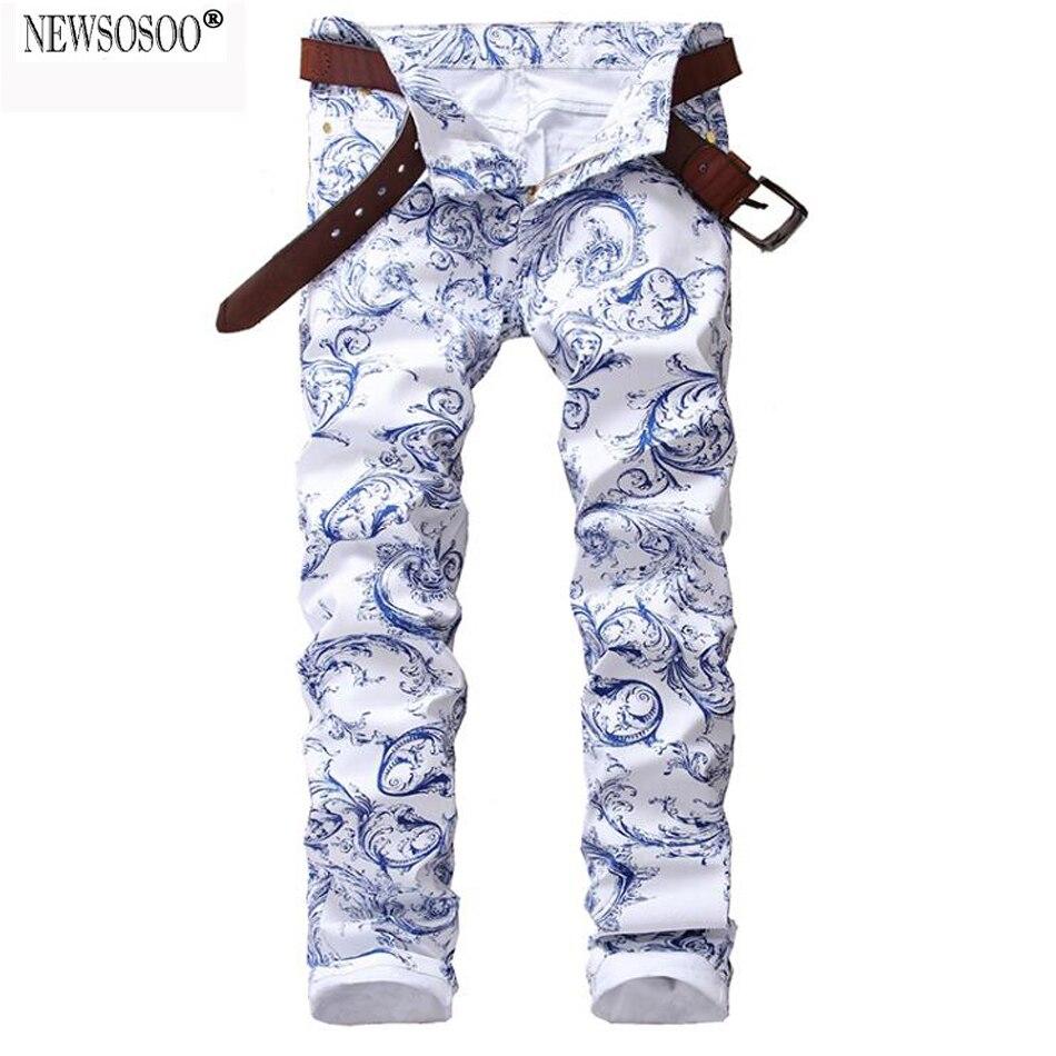 ФОТО Newsosoo brand Men's fashion blue and white porcelain pattern printed jeans Slim stretch denim pencil pants jean homme MJ53