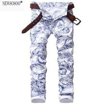 Newsosoo марка мужская мода синий и белый фарфор шаблон печатной джинсы Тонкий стрейч джинсовые брюки карандаш жан homme MJ53