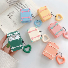 Airpods case Cute Candy color suitcase wireless earphone For iphone Headphone Earphone Case Protective cover